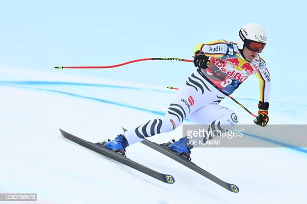 Germany's Romed Baumann competes during the men's downhill event at the FIS Alpine Ski World Cup, also known as Hahnenkamm race, in Kitzbuehel,...