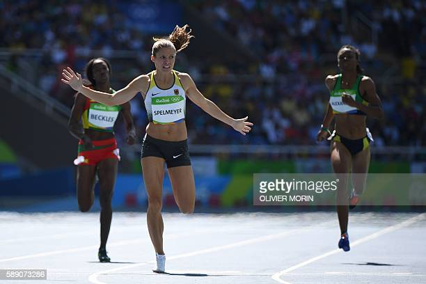 Germany's Ruth Sophia Spelmeyer competes in the Women's 400m Round 1 during the athletics event at the Rio 2016 Olympic Games at the Olympic Stadium...