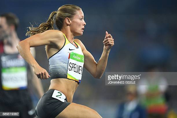 Germany's Ruth Sophia Spelmeyer competes in the Women's 400m Semifinal during the athletics event at the Rio 2016 Olympic Games at the Olympic...