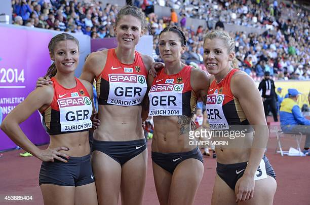 Germany's Ruth Sophia Spelmeyer Germany's Lena Schmidt Germany's Janin Lindenberg and Germany's Lara Hoffmann pose after competing in the Women's...