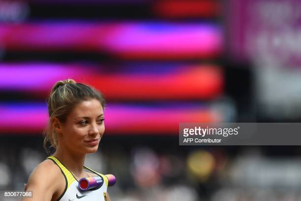 Germany's Ruth Sophia Spelmeyer waits to compete in the women's 4x400m relay athletics event at the 2017 IAAF World Championships at the London...