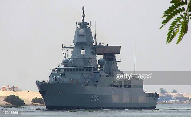 """Germany's Sachsen class air-defense frigate """"Hamburg"""" crosses the Suez Canal waterway near Egypts's port city of Ismailia, east of Cairo, on June 13,..."""