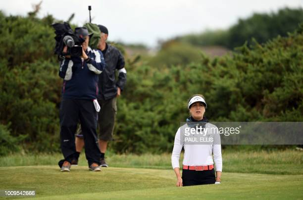 Germany's Sandra Gal plays a shot on the 17th on the first day of the 2018 Women's British Open Golf Championships at Royal Lytham St Annes Golf Club...