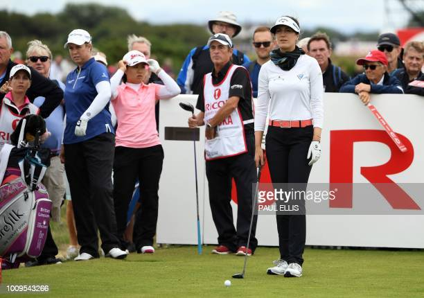 Germany's Sandra Gal plays a shot on the 18th on the first day of the 2018 Women's British Open Golf Championships at Royal Lytham St Annes Golf Club...