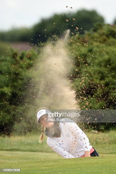 Germany's Sandra Gal plays out of a bunker on the 17th on the first day of the 2018 Women's British Open Golf Championships at Royal Lytham St Annes...