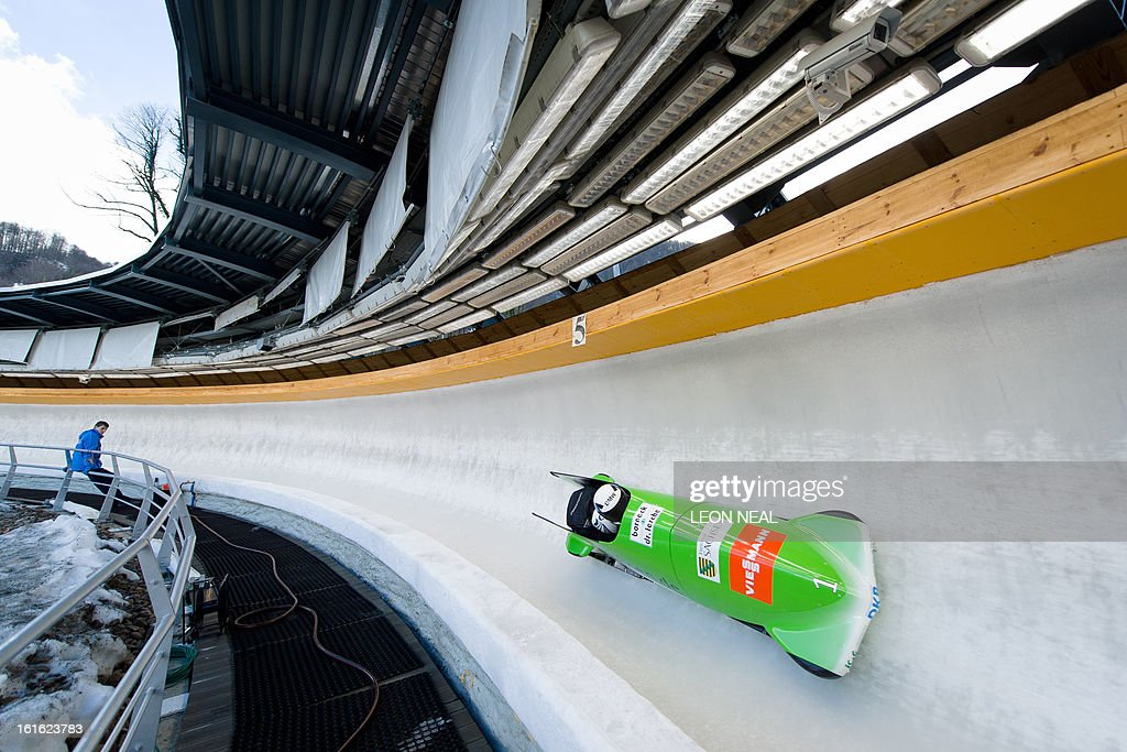 Germany's Sandra Kiriasis takes part in a training run for the Bobsleigh Women category of the FIBT Bob and Skeleton World Cup 2012/23 at the Sanki sliding centre, near Rzhanaya Polyana on February 13, 2013. With a year to go until the Sochi 2014 Winter Games, construction work continues as tests events and World Championship competitions are underway.