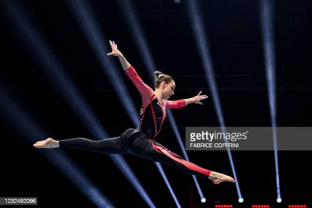 Germany's Sarah Voss competes in the Women's beam qualifications during European Artistic Gymnastics Championships at the St Jakobshalle, in Basel,...