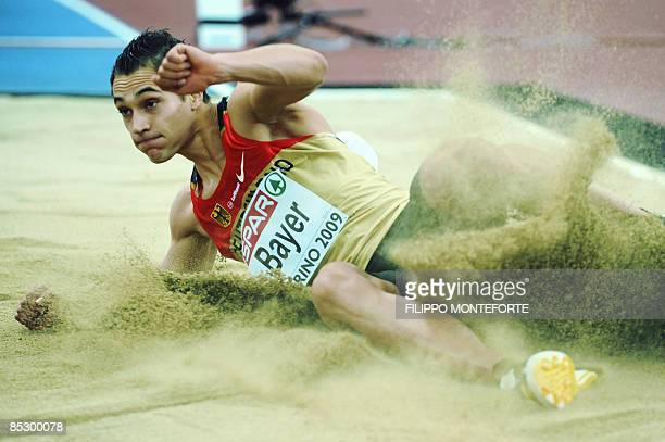 Germany's Sebastian Bayer performs to win gold in the Men's Long Jump of the European Athletics Indoor Championships on March 8 2009 in Turin AFP...