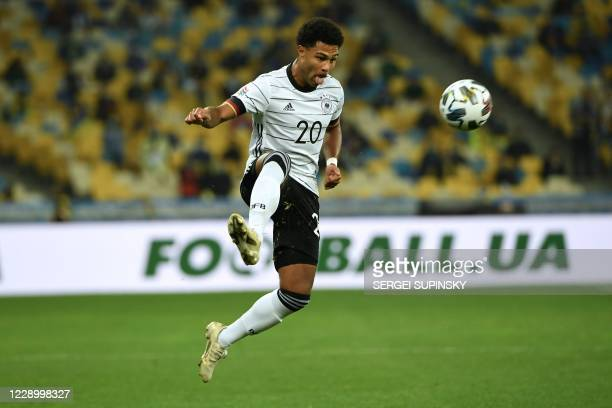 Germany's Serge Gnabry in action during the UEFA Nations League football match between Ukraine and Germany at the Olympiyskiy stadium in Kiev on...