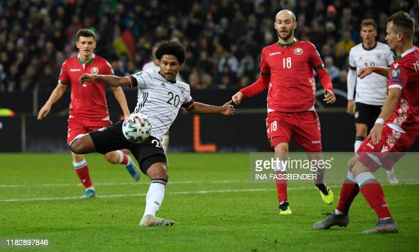 Germany's Serge Gnabry vies for the ball during the UEFA Euro 2020 Group C qualification football match between Germany and Belarus, on November 16,...