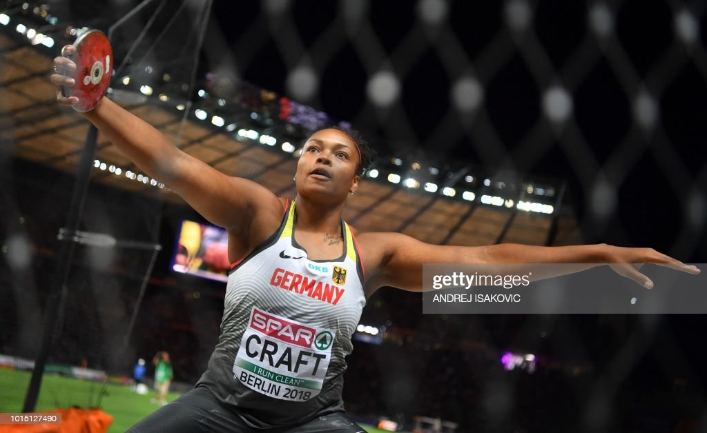 Germany's Shanice Craft competes in the women's Discus Throw final during the European Athletics Championships at the Olympic stadium in Berlin on August 11, 2018.