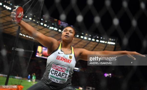 Germany's Shanice Craft competes in the women's Discus Throw final during the European Athletics Championships at the Olympic stadium in Berlin on...