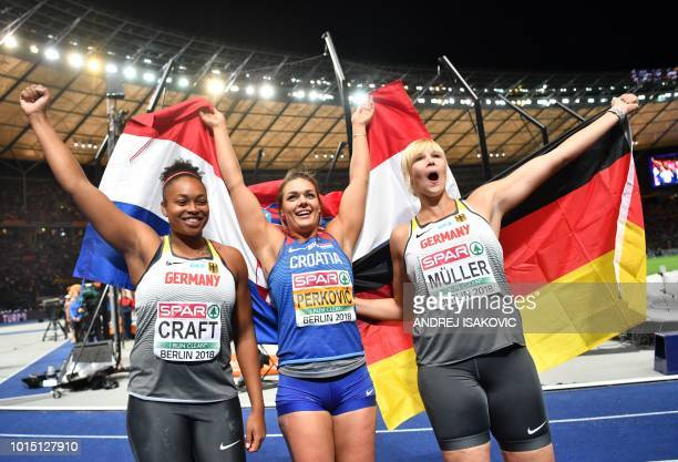 Germany's Shanice Craft Croatia's Sandra Perkovic and Germany's Nadine Mueller celebrate after the women's Discus Throw final during the European...