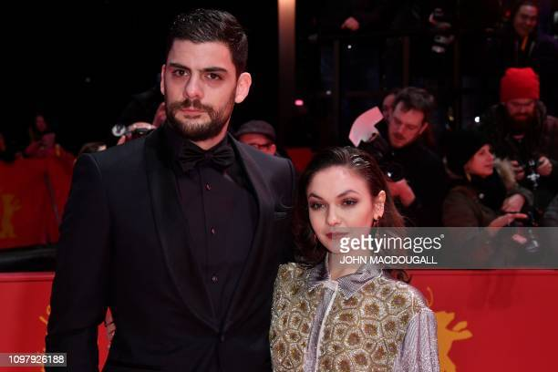 Germany's shooting star Emma Drogunova and Serbia's shooting star Milan Maric pose on the red carpet ahead of the screening for the film Vice at the...