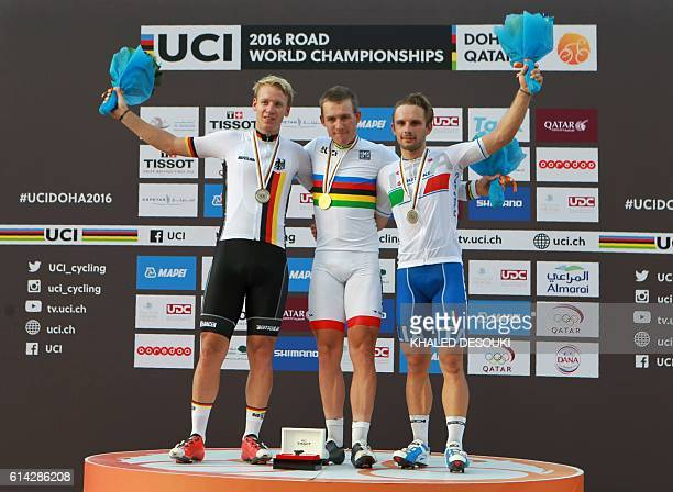 Germany's silver medallist Pascal Ackermann Norway's gold medallist Kristoffer Halvorsen and Italy's bronze medallist Jakub Mareczko stand on the...