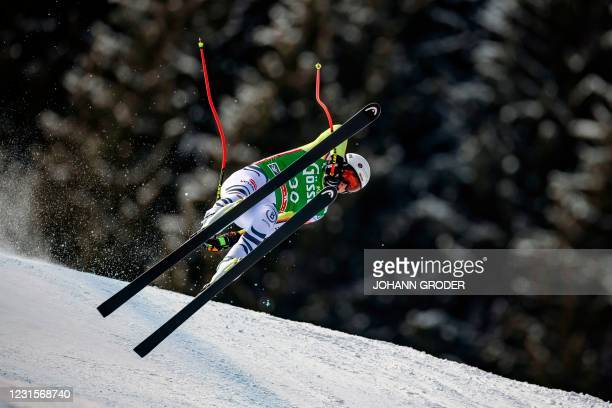 Germany's Simon Jocher competes during the men's Super G race of the FIS Ski Alpine World Cup in Saalbach-Hinterglemm, Austria on March 7, 2021. /...