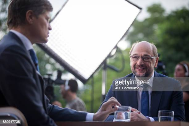 Germany's Social Democratic Party candidate for chancellor Martin Schulz attends the TV summer interview of the public broadcaster ZDF on August 13...