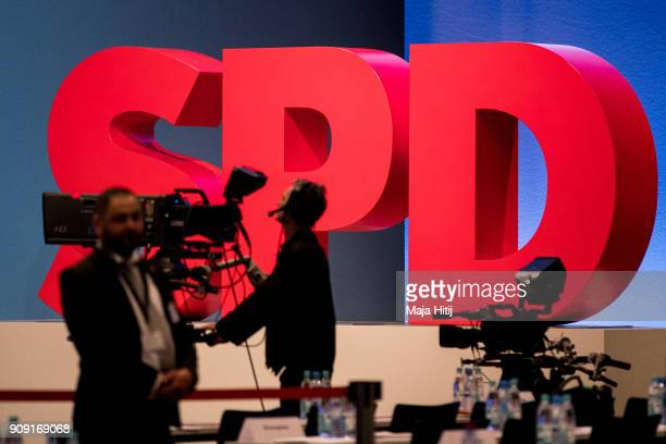 Germany's social democratic SPD party logo is seen at the SPD federal congress on January 21 2018 in Bonn Germany The SPD is holding the congress to...