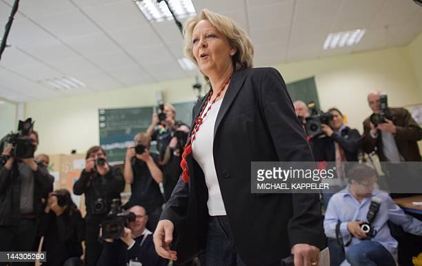 Germany's SPD Party top candidate Hannelore Kraft gives her vote at the German regional elections of north rhine-westphalia in Muelheim, western...