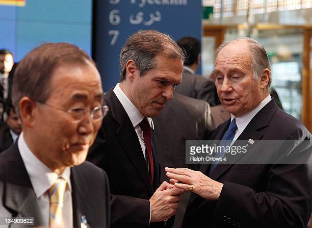 Germany's special representative for Afghanistan and Pakistan Michael Steiner speaks with Prince Aga Khan during the 10th annual international...