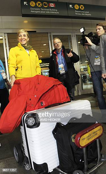 Germany's speed skater Anni Friesinger smiles upon her arrival at Vancouver Airport on February 8, 2010 for the Vancouver 2010 for the Winter...