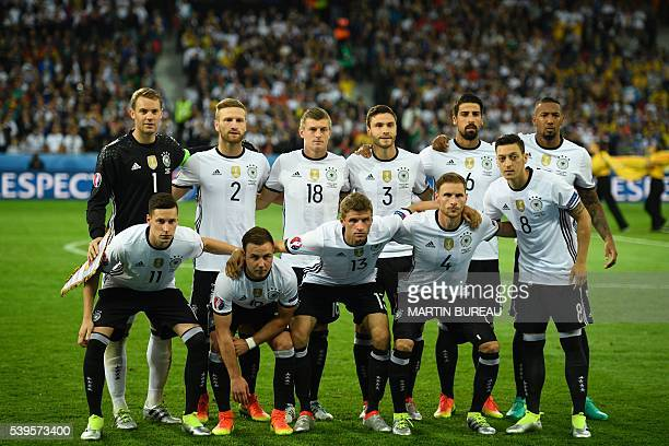 Germany's squad goalkeeper Manuel Neuer defender Shkodran Mustafi midfielder Toni Kroos defender Jonas Hector midfielder Sami Khedira defender Jerome...