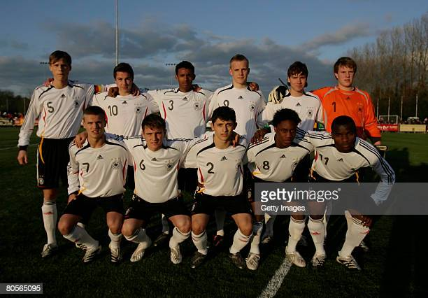 Germany's starting team during the U16 International friendly Ireland vs Germany at O'Shea Park on April 08 2008 in Cork Ireland