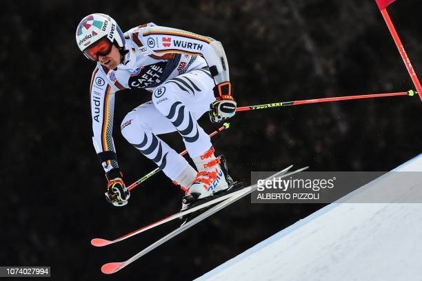 Germany's Stefan Luitz competes in the the FIS Alpine World Cup Men Giant Slalom on December 16, 2018 in Alta Badia, Italian Alps.