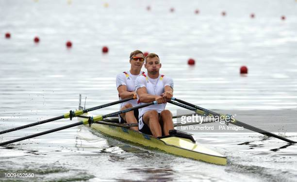 Germany's Stephan Riemekasten and Max Appel in the Men's Double Sculls heat two during day one of the 2018 European Championships at the Strathclyde...