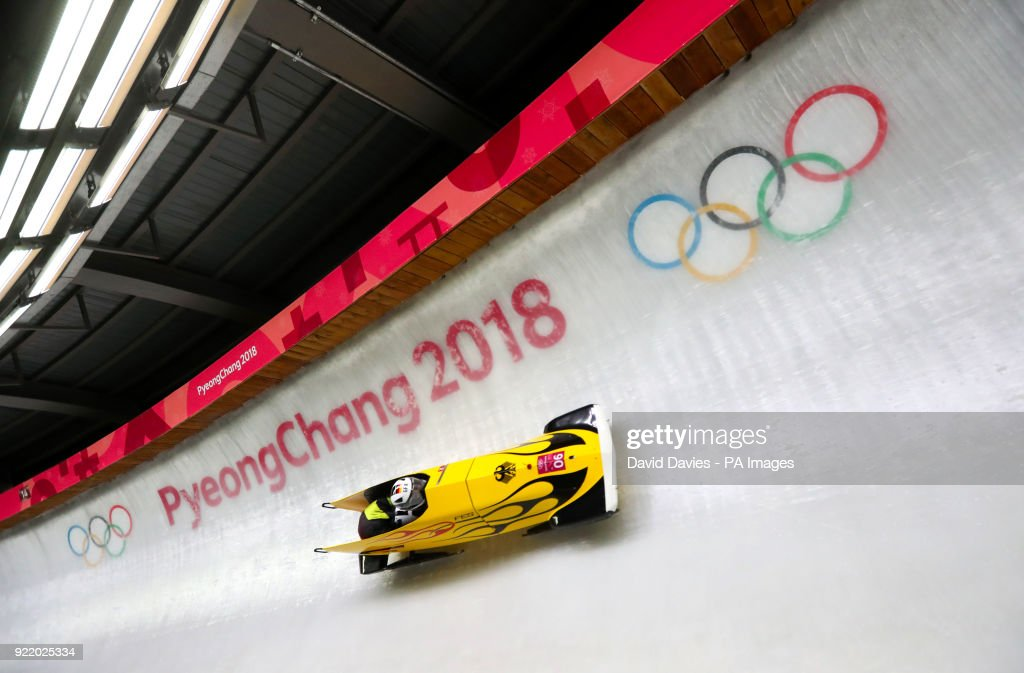 Germany's Stephanie Schneider (pilot) and Annika Drazek compete in the Two Woman Bobsleigh Heat 3 at the Olympic Sliding Centre during day twelve of the PyeongChang 2018 Winter Olympic Games in South Korea.