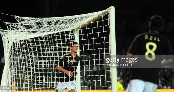 Germany's striker Mario Gomez scores during the Euro 2012 qualifier football match Azerbaijan vs Germany on June 7 2011 in Baku Azerbaijan AFP PHOTO...