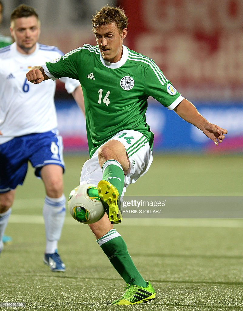 Germany's striker Max Kruse plays the ball during the FIFA World Cup 2014 qualifying football match Faroe Island vs Germany in Torshavn on September 10, 2013.