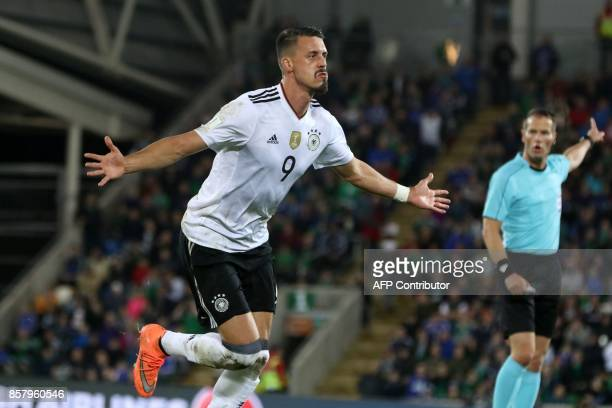 Germany's striker Sandro Wagner celebrates after scoring their second goal during the FIFA World Cup 2018 qualification football match between...