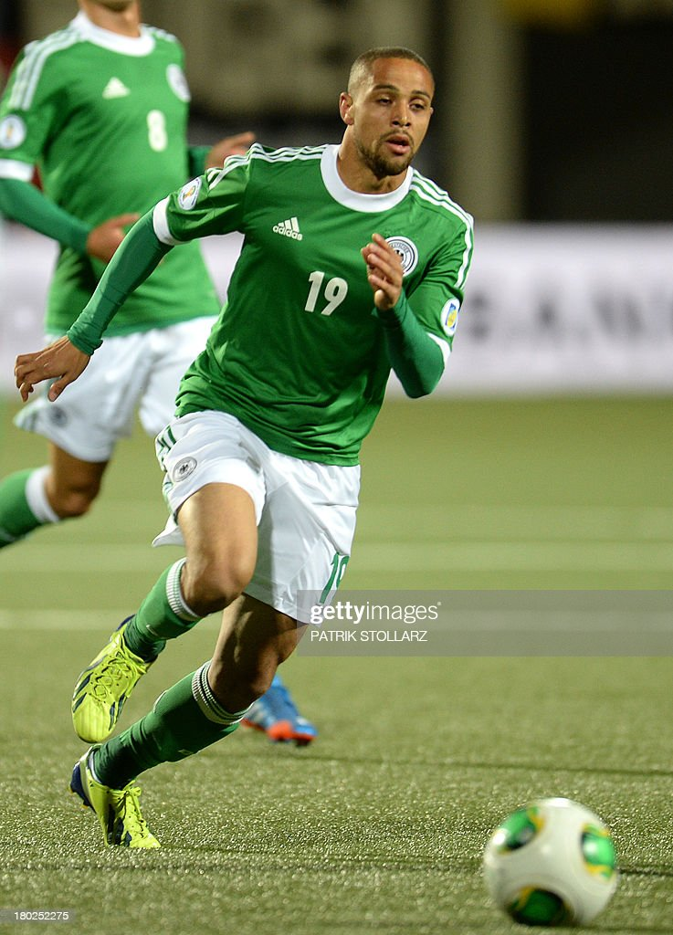 Germany's striker Sidney Sam plays the ball during the FIFA World Cup 2014 qualifying football match Faroe Island vs Germany in Torshavn on September 10, 2013.