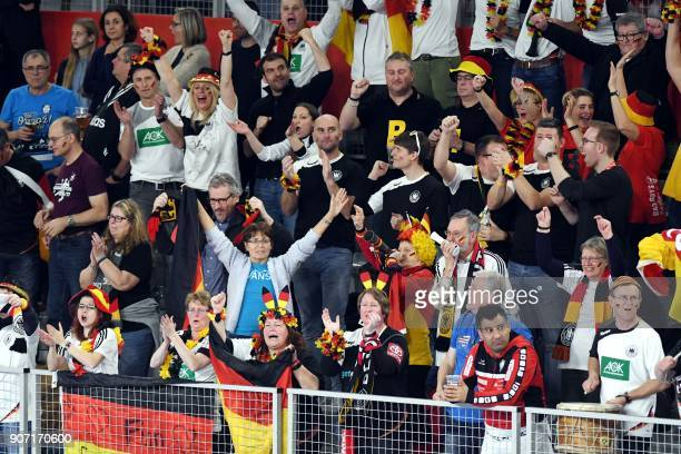 Germany's supporters cheer during the group II match of the Men's 2018 EHF European Handball Championship between Germany and Czech Republic in...