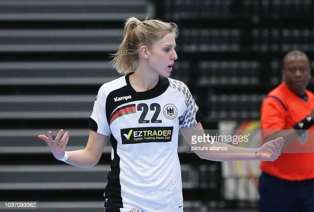 Germany's Susann Mueller gestures during the World Women's Handball Championships match between Brazil and Germany in KoldingDenmark 08 December...