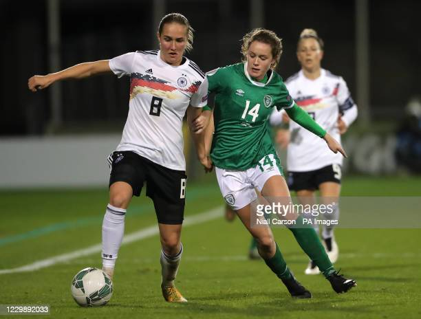Germany's Sydney Lohmann and Republic of Ireland's Heather Payne battle for the ball during the UEFA Women's Euro 2021 Qualifying Group I match at...