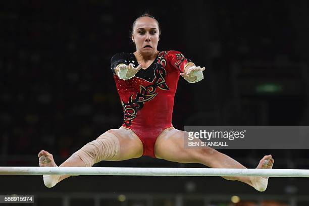 TOPSHOT Germany's Tabea Alt competes in the qualifying for the women's Uneven Bars event of the Artistic Gymnastics at the Olympic Arena during the...