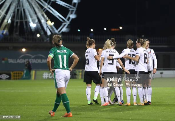 Germany's Tabea Wassmuth celebrates scoring her side's second goal of the game during the UEFA Women's Euro 2021 Qualifying Group I match at the...