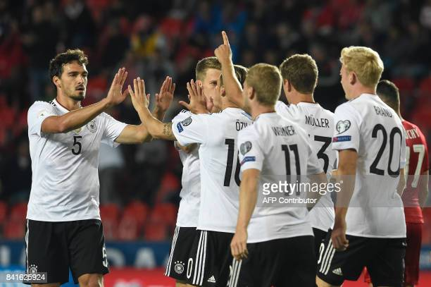 Germany's team celebrates after scoring during the FIFA World Cup 2018 qualification football match between Czech Republic and Germany in Prague...