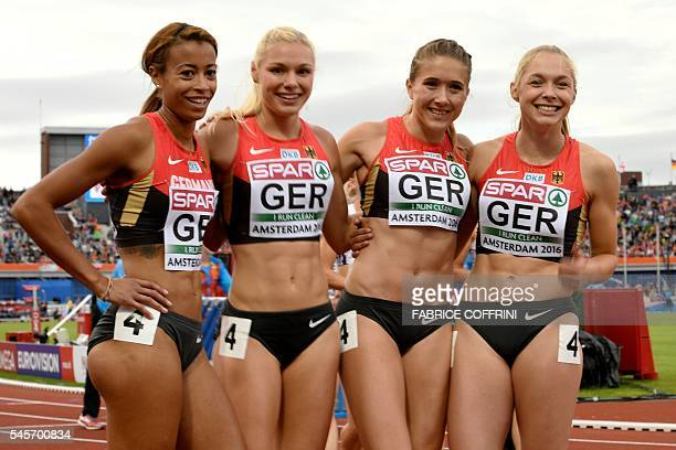 486b60e4d4 Germany s team pose after winning the Women s 4x100m relay qualifying round  during the European Athletics Championships