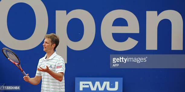 Germany's tennis player Florian Mayer reacts during his ATP tennis BMW Open final match against Russia's Nikolay Davydenko in Munich southern Germany...