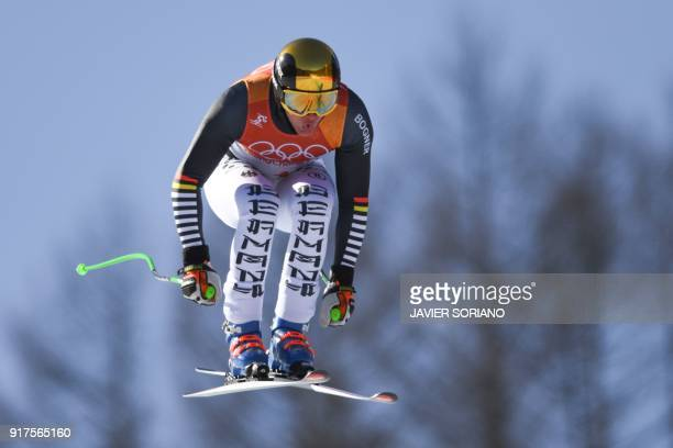 TOPSHOT Germany's Thomas Dressen competes in the Men's Alpine Combined Downhill at the Jeongseon Alpine Center during the Pyeongchang 2018 Winter...