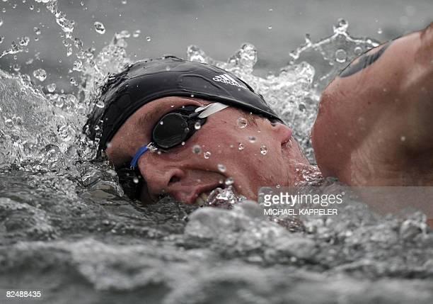 Germanys Thomas Lurz swims during the Mens 10km Swim Marathon at the 2008 Beijing Olympic Games in Beijing on August 21 2008 Maarten van der Weijden...