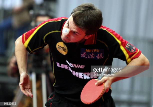 Germany's Timo Boll readies to serve during his men's single final match against Vladmir Samsonov of Belorussia at the European Table Tennis...