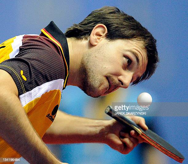 Germany's Timo Boll serves against France's Adrien Mattenet during their European Table Tennis Championships men singles quarter final match in...