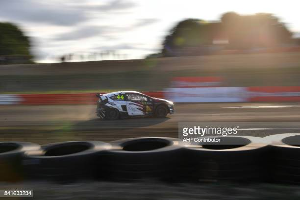 Germany's Timo Scheider drives his Team MJP Racing Team Austria car during the free practice session of the rallycross of France, a stage of the 2017...