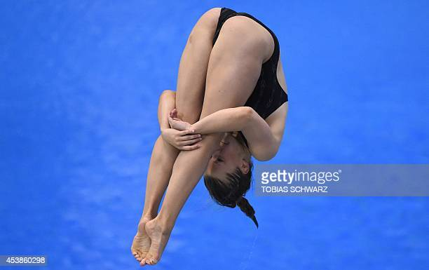 Germany's Tina Punzel competes to place third in the 1m Springboard women final event at the 32nd LEN European swimming championships on August 20...