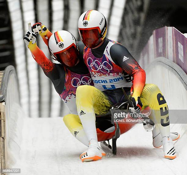 Germany's Tobias Arlt and Tobias Wendl celebrates their Gold Medal Luge Doubles Run 2 at the Sanki Sliding Center during the Sochi Winter Olympics on...