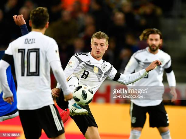Germany's Toni Kroos controls the ball during the international friendly football match Germany against France in Cologne on November 14 2017 The...
